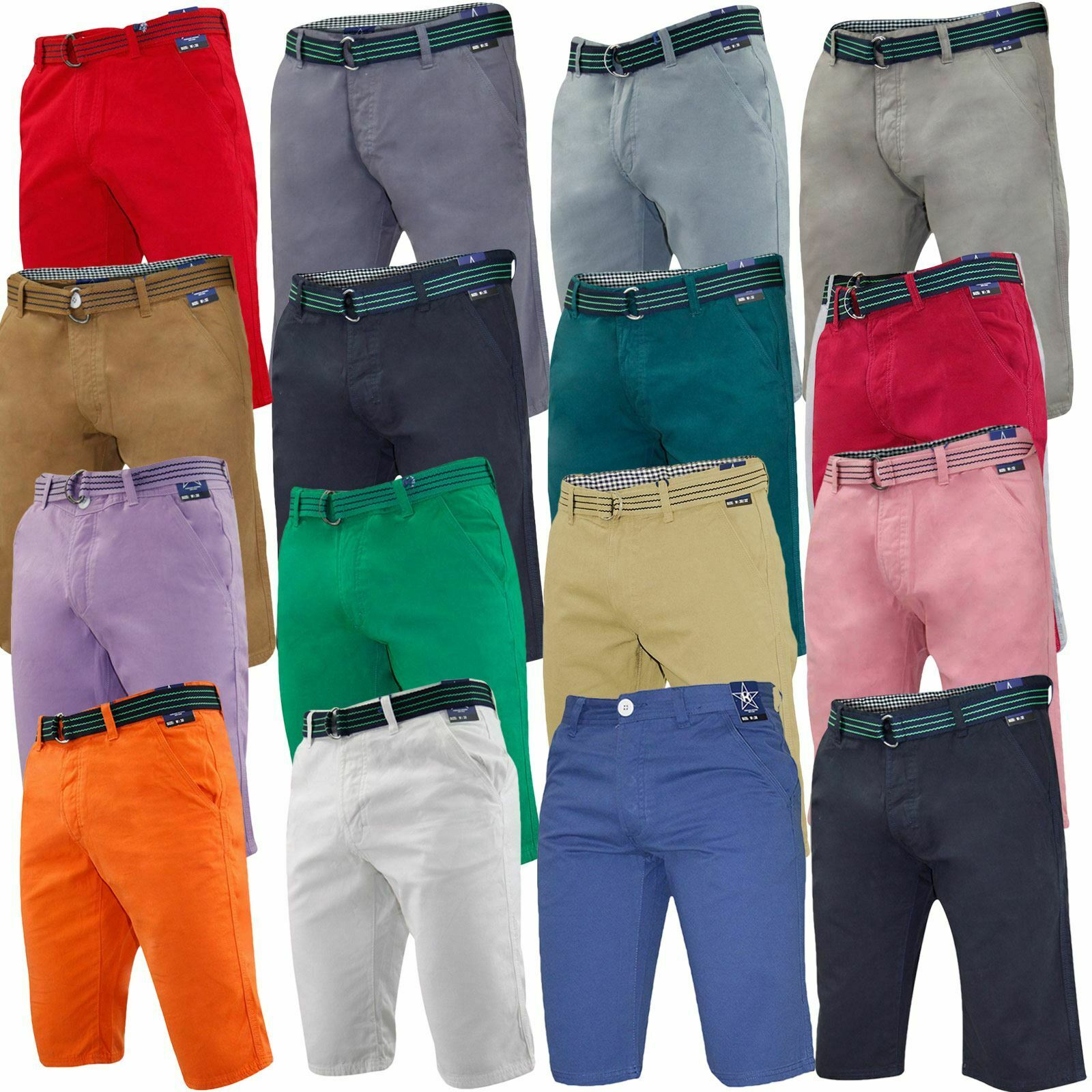 Men Chino Shorts Summer Beach Kushiro City Cotton Bottoms With Free Woven Belt