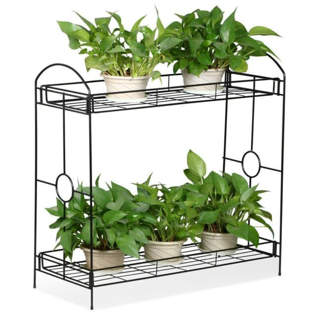 2 Tier Metal Shelves Indoor Plant Stand Display Flower Pots Rack Outdoor Garden