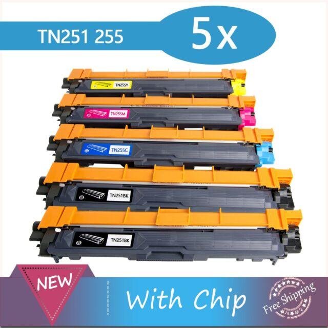 5x Toner  TN251 TN255 for Brother HL3150CDN HL3170CDW MFC9330CDW MFC9335CDW