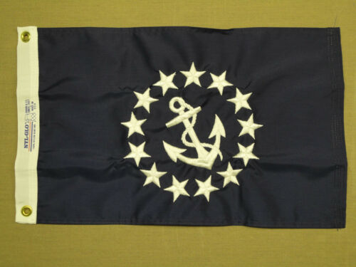 """Commodore Yacht Club Officer Indoor Outdoor Nylon Boat Flag Grommets 12/"""" X 18/"""""""