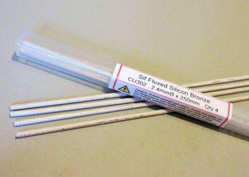 SIF fluxé bronze Brasage Rods 4 Tiges usage général-Joint Cuivre Acier Laiton