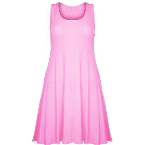 Womens Swing Dress Ladies Plain Sleeveless Flared Skater Long Vest Top Dresses