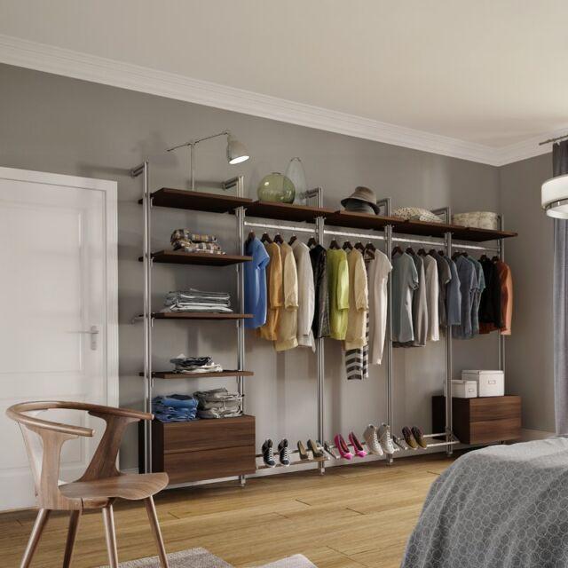 E Pro Relax Wardrobe Storage System Kit 9 Walnut