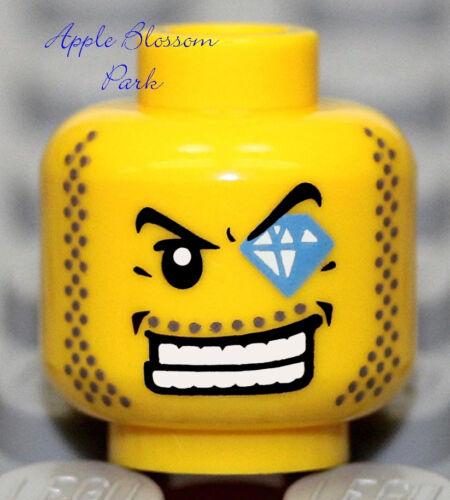 NEW Lego MINIFIG HEAD w//Diamond Jewel Eye Police//Agents Dollar Bill//Pirate//City