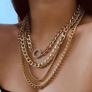 Multi-Layer-Link-Chain-Choker-Chunky-Statement-Necklace-Collar-Charm-JewelryTEUS