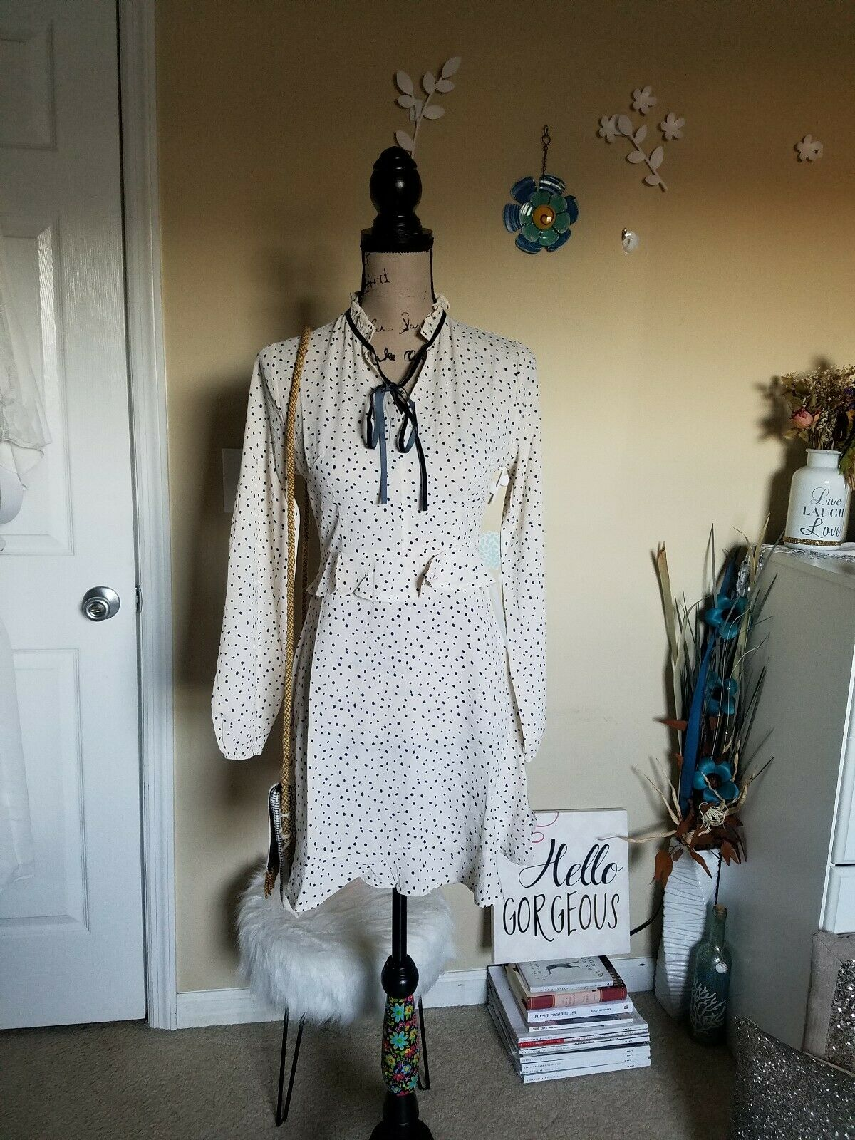 Nasty Gal Women's Ditsy Polka Dot Tea Dress Cream Size US 4 NWT