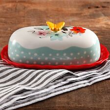"""6.4"""" Butter Dish The Pioneer Woman Flea Market Decorated Floral"""