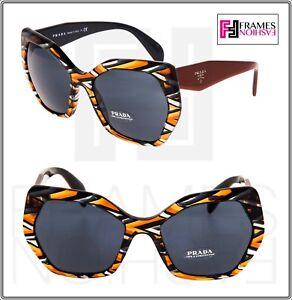 a457f380544 Image is loading PRADA-HANDBAG-Oversized-Sunglasses-16R-Sheaves-Grey-Orange-