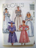 1980's Wedding Gown Dress Bridemaid Prom Lace Bodice Pattern 4075 Size 8