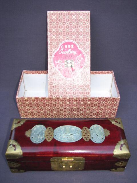 Original Shanghai China Chinese Rosewood Jewelry Box Carved Jade Red Brocade Box