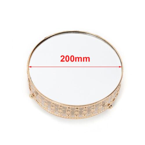 200//250//300mm Crystal Round Cake Stand Mirrored Top Dessert Rack Wedding Display