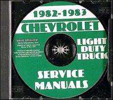 1982-1983 Chevy Truck Shop Manual CD Pickup Van Blazer Suburban Chevrolet Repair