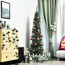 7' PVC Slim Pencil Hinged Artificial Christmas Tree 390 Branch Tips
