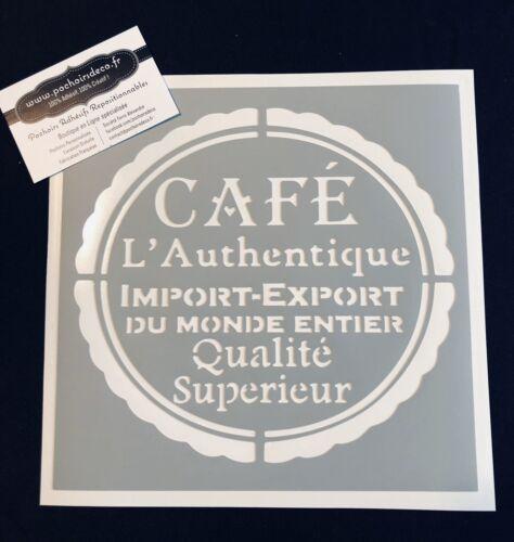 Pochoir Adhésif Réutilisable 20 x 20 cm Affiche Café ancienne Made in France