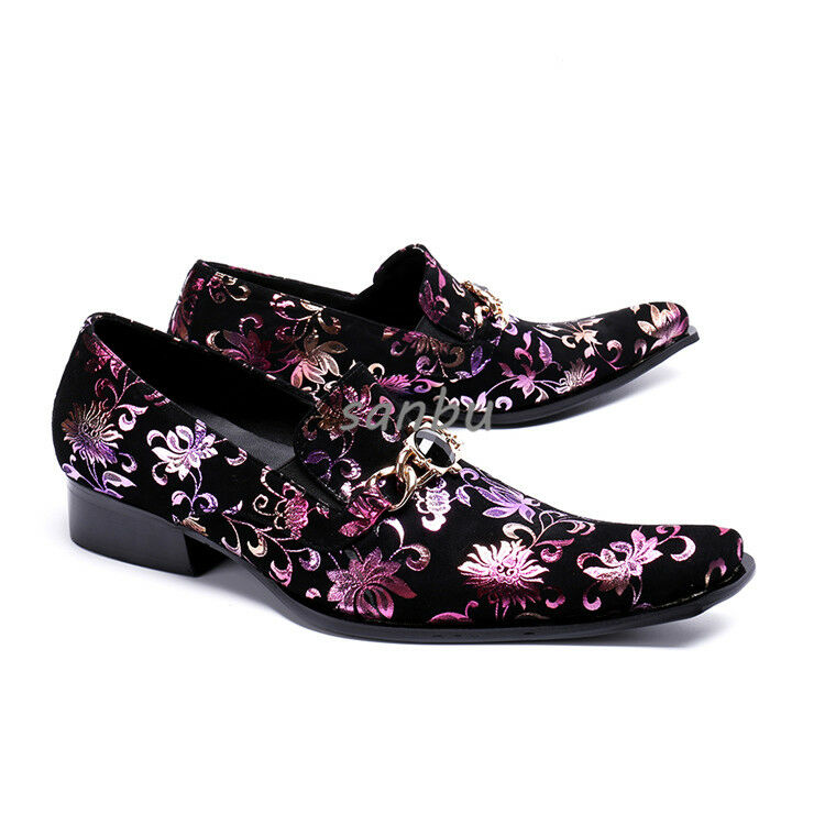 Fashion Men Synthetic Leather Pointed Toe Rhinestone Floral Printing Dress shoes