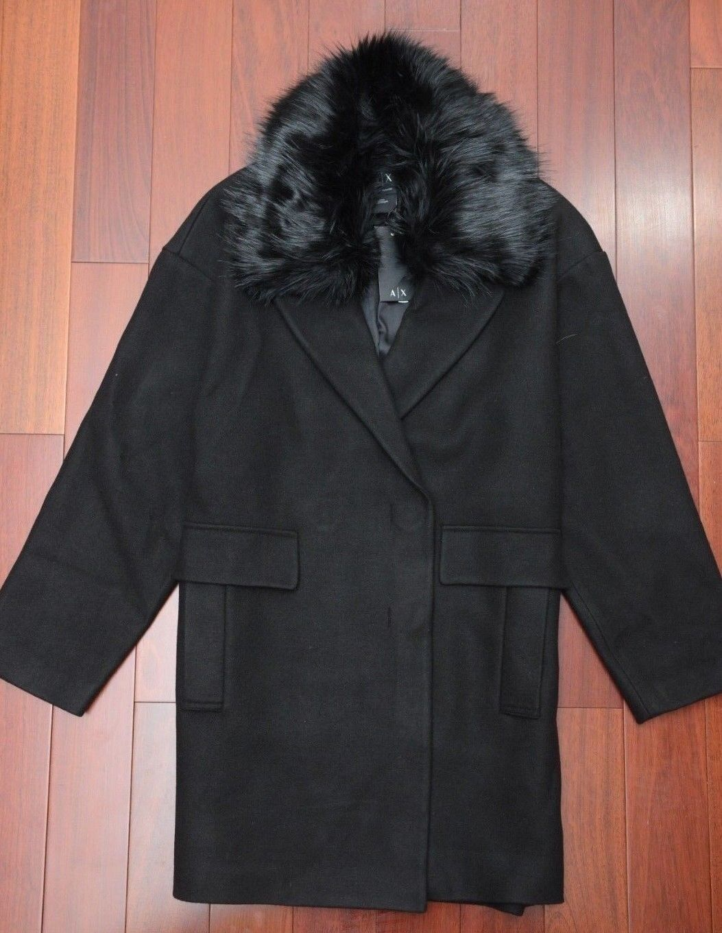 Armani Exchange A X Women's Faux Fur Collar Wool Acrylic BLK Peacoat New M