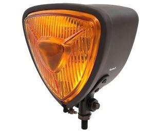"4.5/"" Bottom Mount Halogen Motorcycle Headlight Matte Black w// Clear Lens"