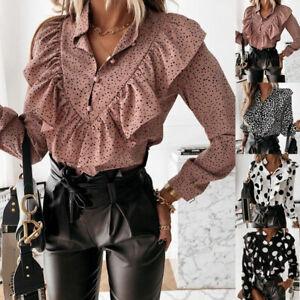 Women Shirts Office V-Neck Button Tops Dot Print Ruffle Blouse Long Sleeve H#