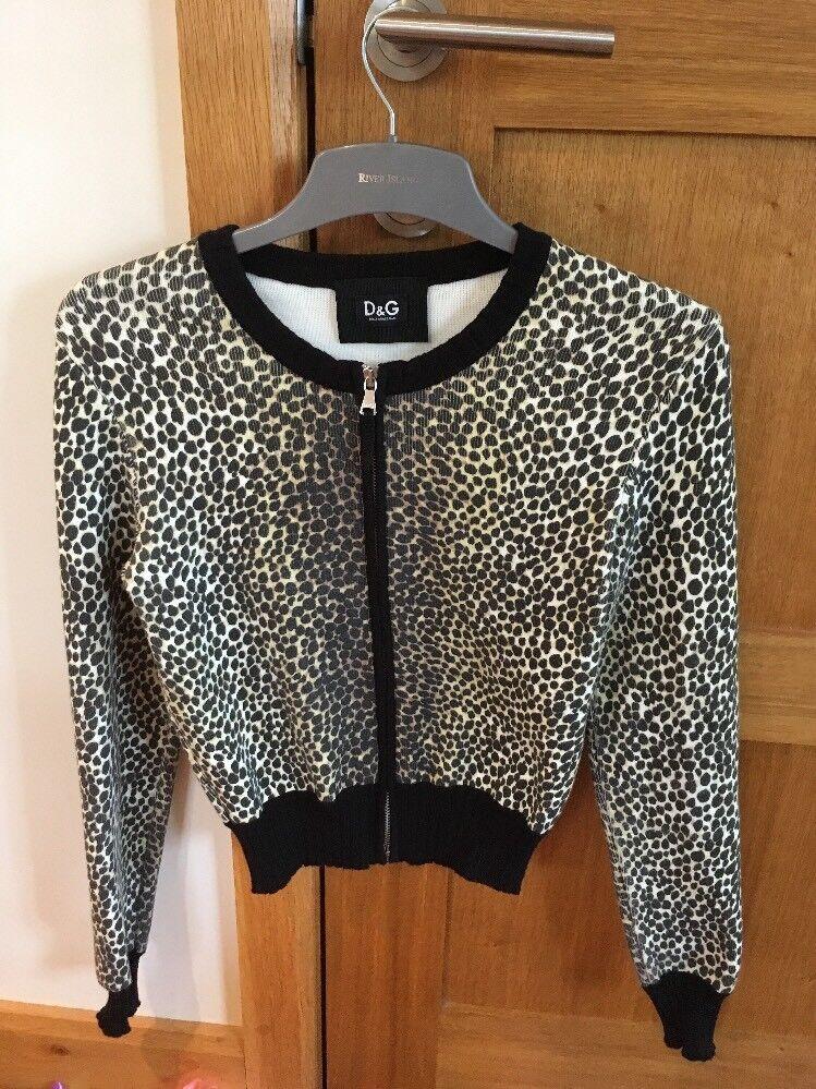 D&G Leopard Animal Print Zip Up Jumper Cardigan Size S Small