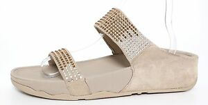 04024ffd1527d Image is loading Fitflop-Flare-Slide-Suede-Sandals-Pebble-Women-Sz-