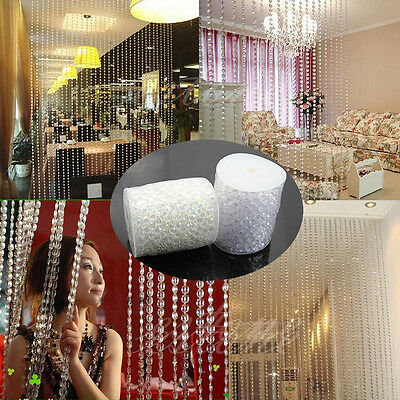 99FT Garland Acrylic Clear Crystal Beads Strand Roll For Party Wedding 2Colors