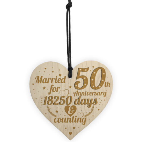 50th Wedding Anniversary Wood Heart Gift Gold Fifty Years Gift For Husband Wife