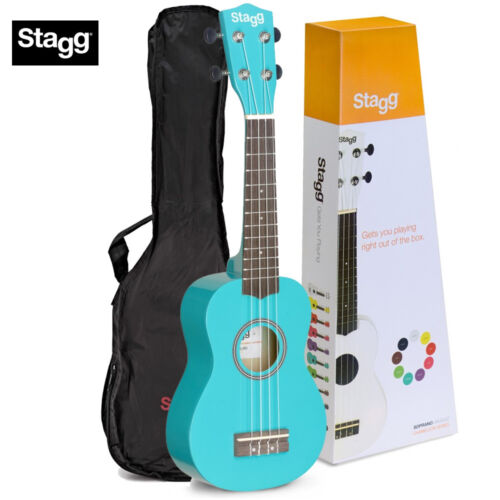 Ocean Blue NEW Stagg Chameleon Series Soprano Size Ukulele with Gig Bag