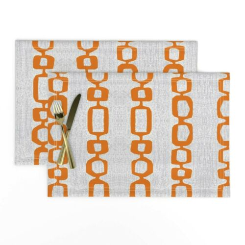 Cloth Placemats Mid Century Modern Mod Links Orange Set of 2