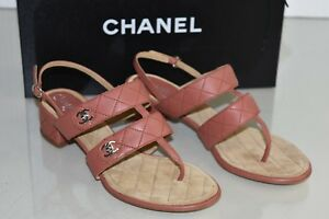 b04b91f4c20  795 New Chanel Leather Quilted Mauve Brown Sandals Block Heel CC ...
