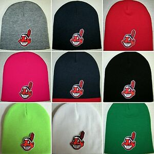 Cleveland Indians Beanie ~SKULL CAP ~HAT ~CLASSIC MLB PATCH LOGO ~10 ... 7398cd670