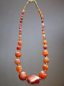 Superbe-collier-agate-pierres-anciennes-cornaline-Old-necklace-stone-cornelian