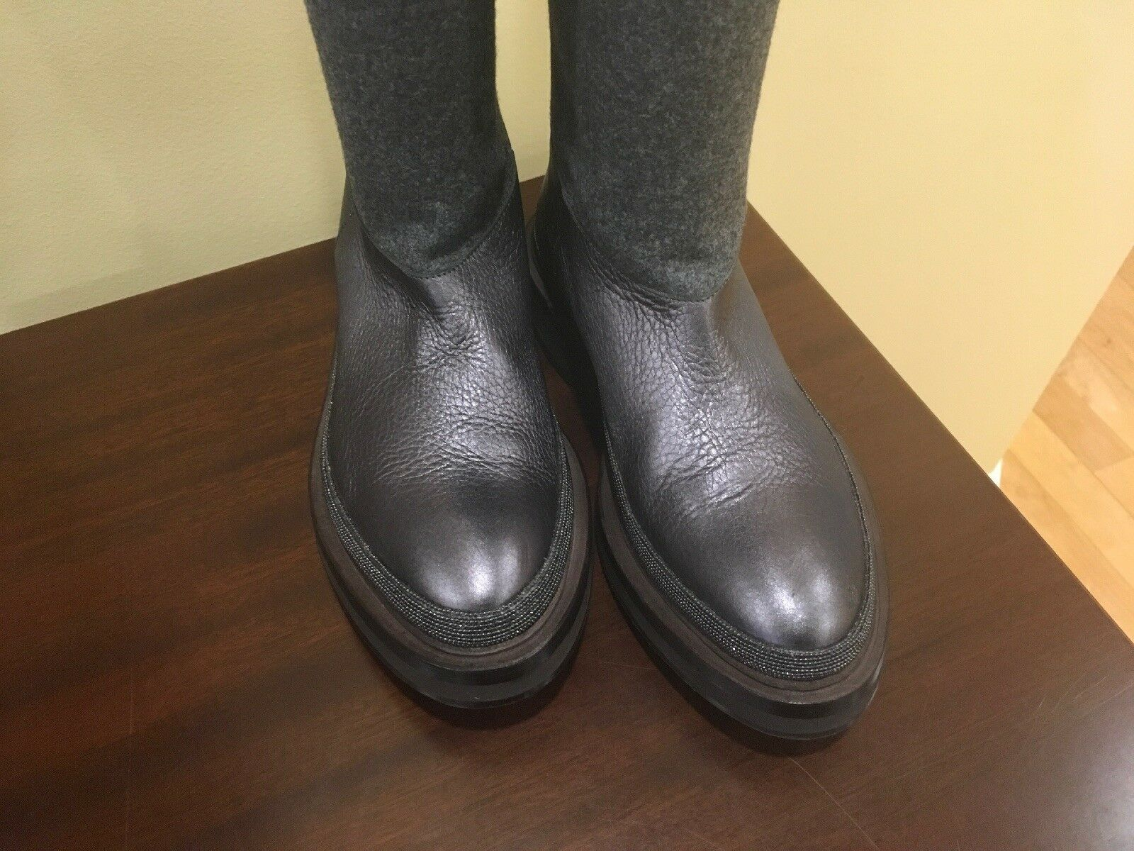 NWOB  2295 Brunello cucinelli Leather Leather Leather Wool Sparkly Monili Knee-high Riding bottes fae269