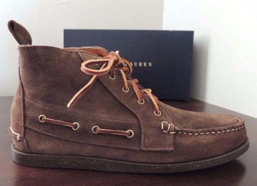 Cuero Gamuza Para Hombre Ralph Lauren Tahoma Marrón Chukka botas al Tobillo Zapatos EE. UU. 8