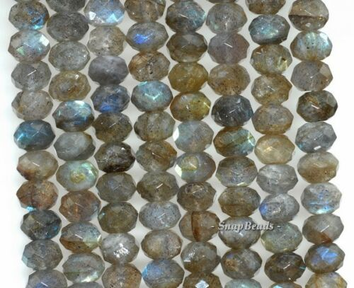 """6X4MM  LABRADORITE GEMSTONE GRADE A FACETED RONDELLE LOOSE BEADS 16/"""""""