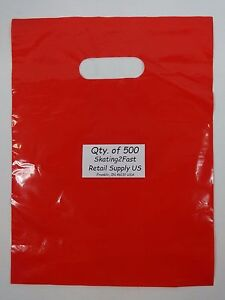 500-Qty-9-x-12-Red-Glossy-Low-Density-Merchandise-Bag-Retail-Shopping-Bags