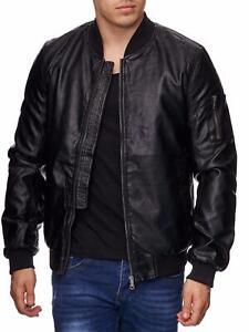 Senores-Biker-chaqueta-negro-arte-chaqueta-de-cuero-BOMBER-Chaqueta-de-transicion-chaqueta-Men