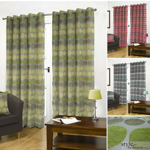 Luxury-Fully-Lined-Retro-Circle-Spots-Chenille-Eyelet-Heavy-Curtains-in-6-sizes