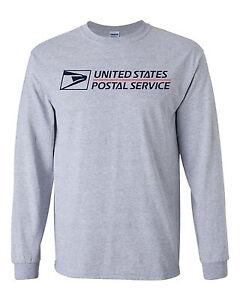 Usps postal long sleeve grey t shirt two color postal logo for Usps t shirt shipping