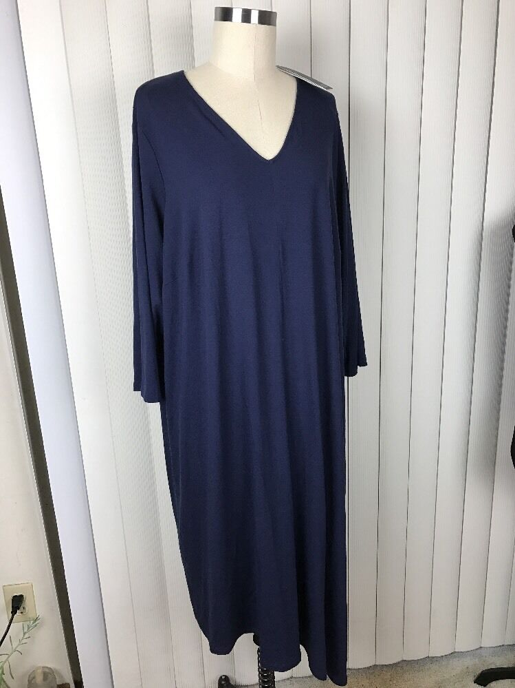 Eileen Fisher Midnight Blau Deep V Neck Jersey Asymmetrical Dress 3XL NWT