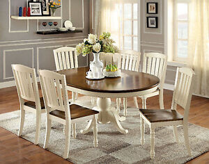 Details About Vintage White Dark Oak Finish 7pc Dining Set Oval Table 6 Side Chairs