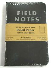 Field Notes 3 Pack Ruled Paper 48 Page Memo Books Notepad Pitch Black Pocket