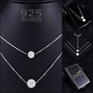 Doppel-Kugel-Halskette-925-Sterling-Silber-Damen-SWAROVSKI-ELEMENTS-ETUI