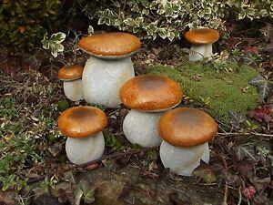 Garten stein dekoration hit die pilze sind aus dem naturstein gemacht ebay - Dekoration pilze ...