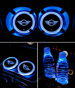 2pcs led car cup holder pad mat for mini auto interior atmosphere light colorful ebay. Black Bedroom Furniture Sets. Home Design Ideas