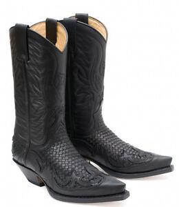 Beautiful 3241 Stivali Cowboy Pelle Sendra Cuervo Maglione Olio Negro-trenzado Negro Uomo, Men's Shoes