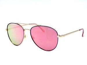 Quay Australia SINGLE Sunglasses, Oversized Aviator Gold / Pink Mirror 60mm #28G