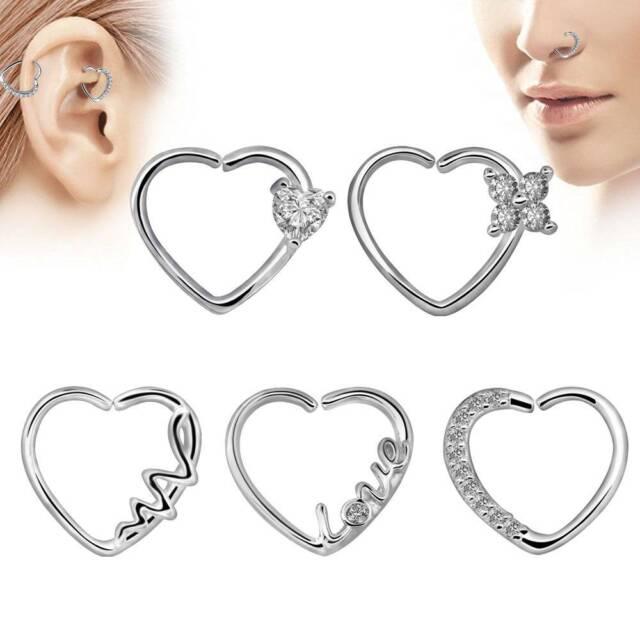 10pcs Heart Star Shape Body Nose Ring Piercing Hoop Earring Helix Cartilage