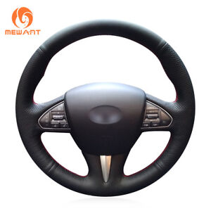 Durable-Black-Leather-Car-Steering-Wheel-Cover-for-Infiniti-Q50-QX50-2015-2017