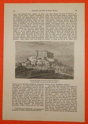 Schloß Grignan In Seiner Früheren Gestalt Engraving Alter Druck 1885 Old Print GläNzend