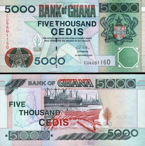 GHANA 5000 5,000 CEDIS 2002 UNC CONSECUTIVE 2 PCS PAIR P.34h